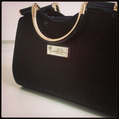 """This purse can hold my black card and tiara!"" DONATELLA Designer  Handbag  Black gold"