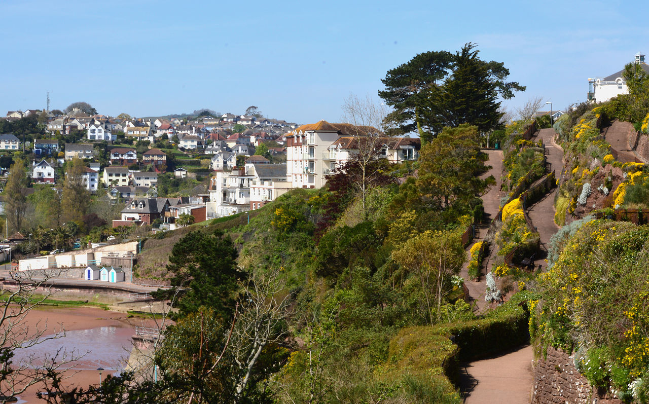 Paths zig-zagging down from Roundham Head to Goodrington Sands, Torbay, Devon, Englannd Beach Blue Canal Day Green Color Growth Hill House Nature No People Outdoors Paths Plant Seaside Seaside Beach Sea Seaside Heights☀ Sky Town TOWNSCAPE Tree
