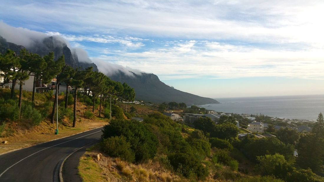 Mountain Road No People Landscape Nature Capture The Moment Sky Scape EyeEmNewHere Foamy Clouds Foamy Mountains Clouds Over Mountains Cape Town, South Africa Cape Town Table Mountain Amazing View Beautiful Mountain Nature Architecture Wonderful View Breathing Space Scenics Landscape Seascape Sea And Sky Seascapes Sea_sky_nature Houses In Background Houses In The Nature