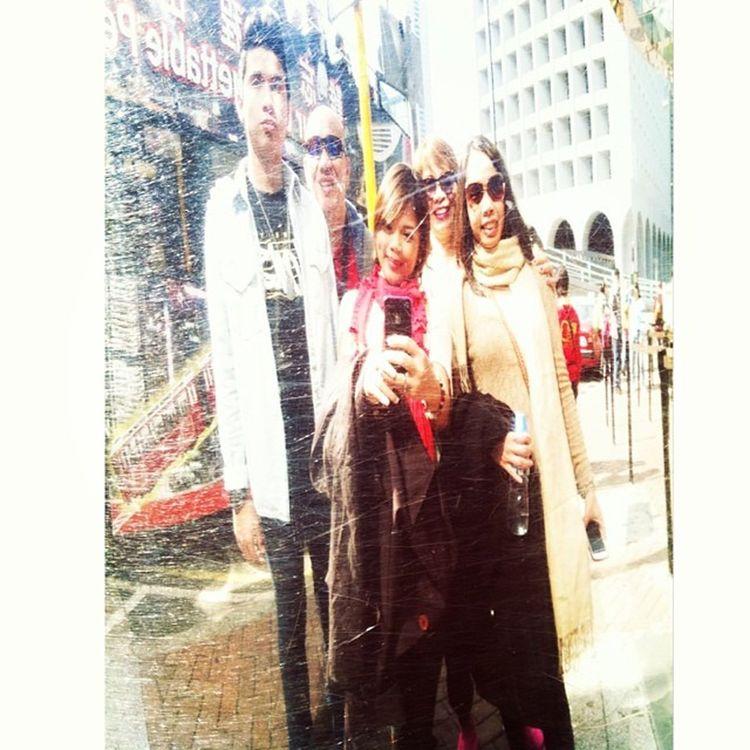 Taken outside the stainless wall panel of Peak tram station 🚉 FamilyVacay Hk