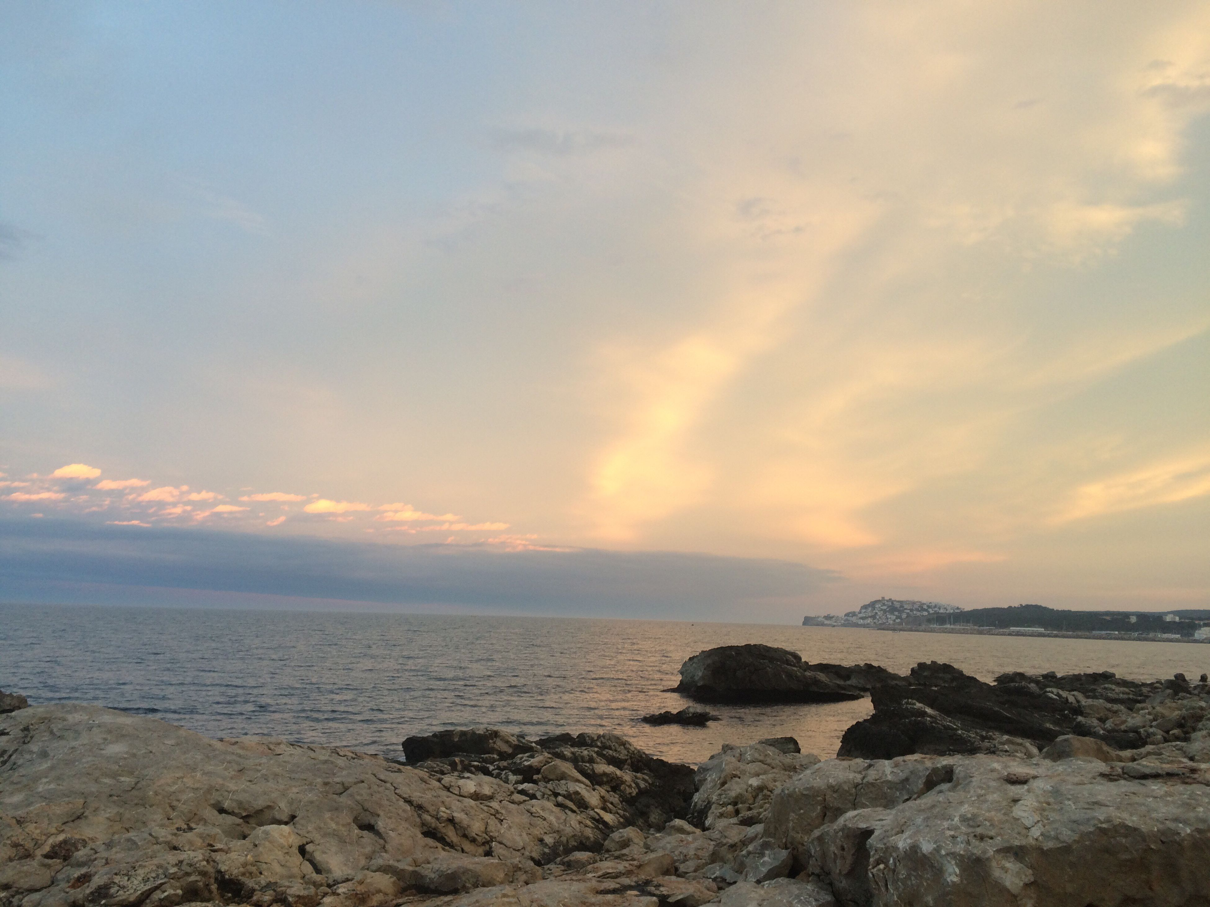 sea, water, scenics, sunset, horizon over water, sky, tranquil scene, tranquility, beauty in nature, rock - object, beach, nature, shore, cloud - sky, idyllic, orange color, rock, cloud, rock formation, outdoors