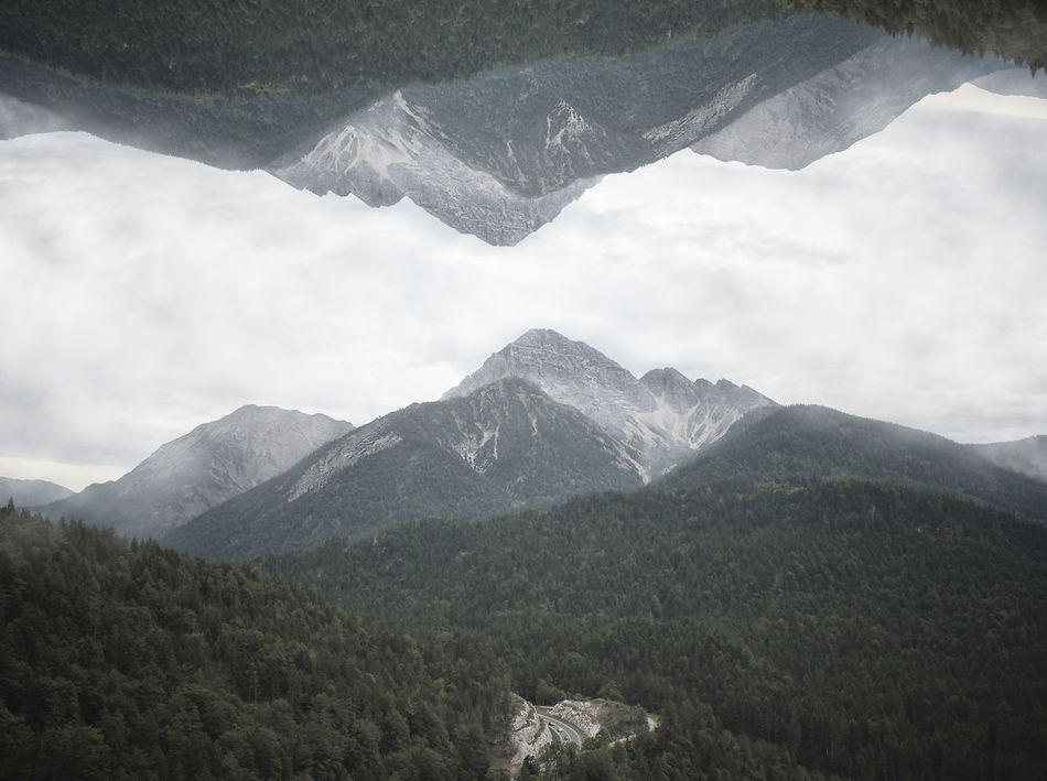 Adventure Beauty In Nature Clouds Clouds And Sky Fantasy Fold Forest High Hike Hiking Inception Landscape Mirror Mirrored Mountain Nature No People Outdoors Peak Rock Sky Street Tree Break The Mold Cut And Paste TCPM Art Is Everywhere Break The Mold Cut And Paste