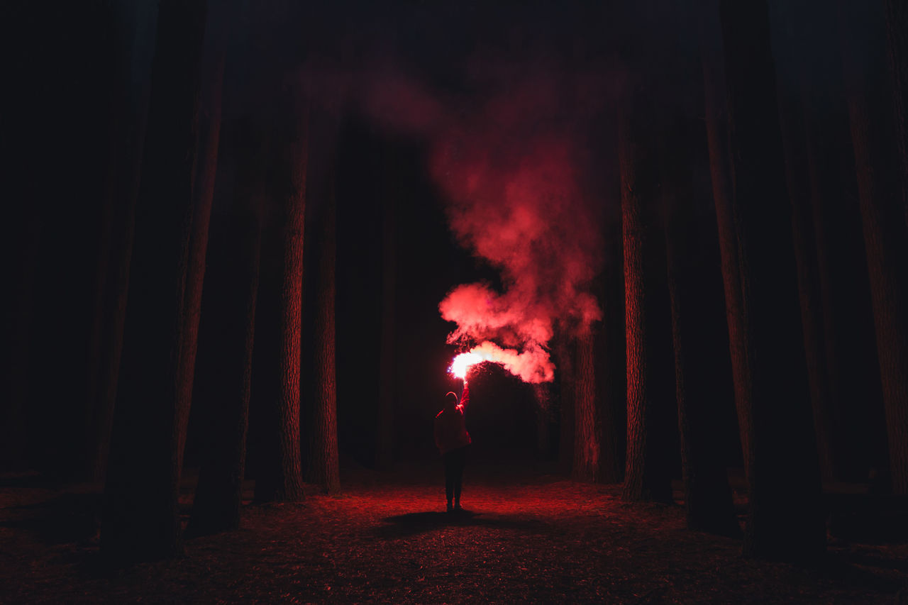 Adult Adults Only Alone Burning Flare Forest Full Length Illuminated Men Night One Man Only One Person Only Men Outdoors People Performance Real People Red Stage - Performance Space Standing Young Adult The Week On EyeEm