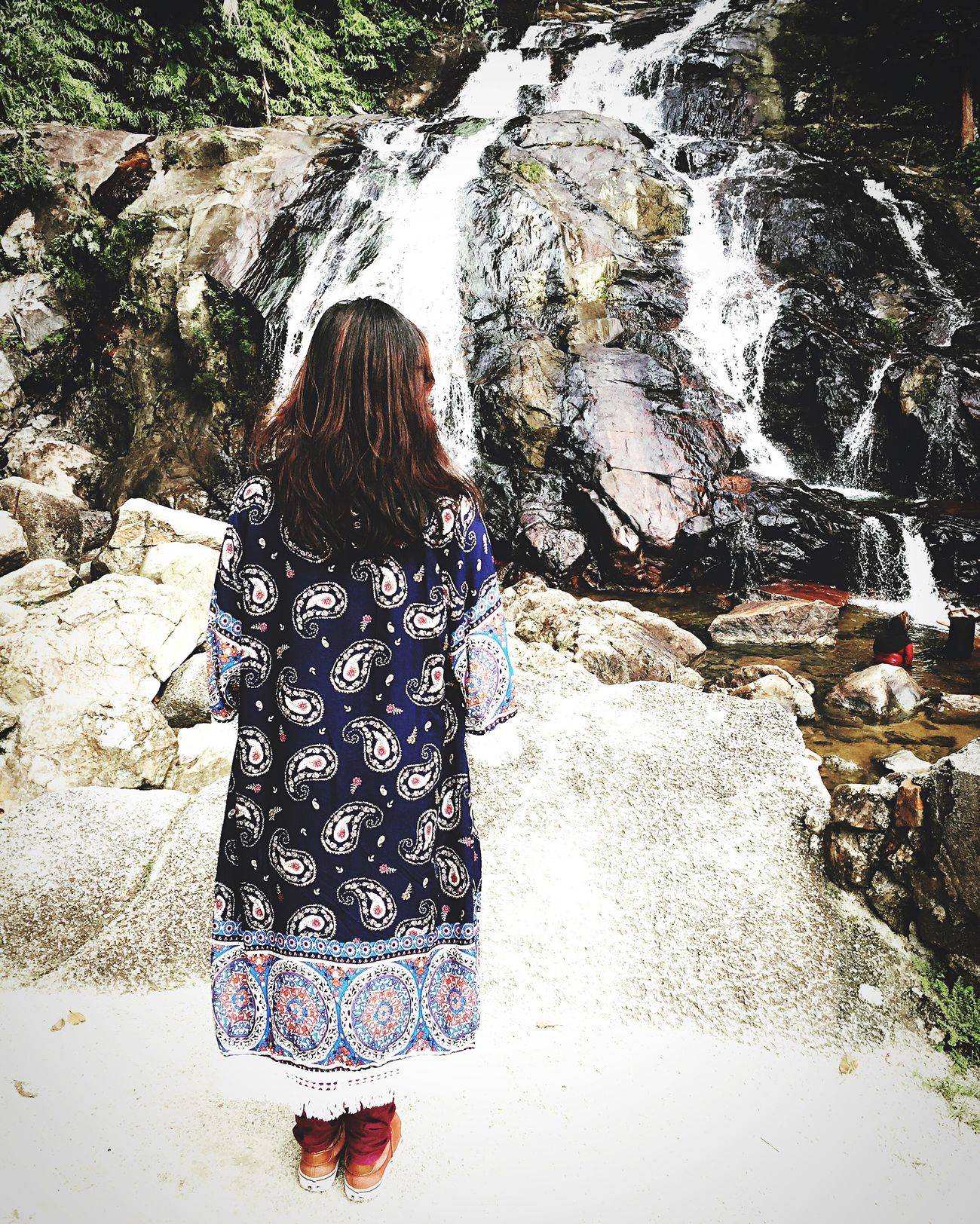 Real People Rear View Long Hair One Person Full Length Outdoors Lifestyles Day Water Nature Beauty In Nature Waterfall People Adult
