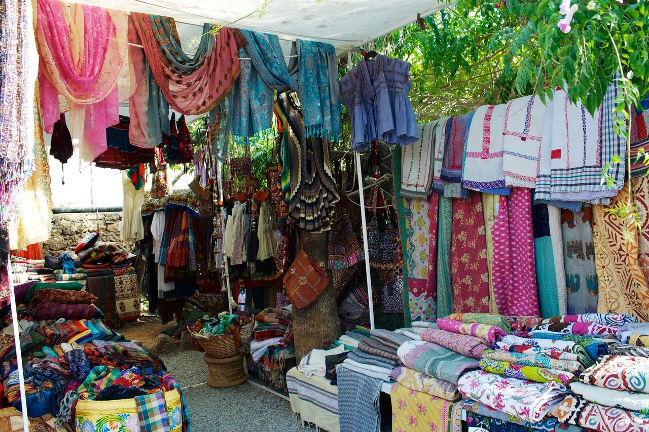Bags Choice Collection Dresses Hanging Hippy Market Large Group Of Objects Las Dalias  Retail  hippy market San Carlos Ibiza Variation