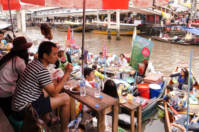 Amphawa  Boat Floating Market Food Leisure Activity Market River Spotted In Thailand Water