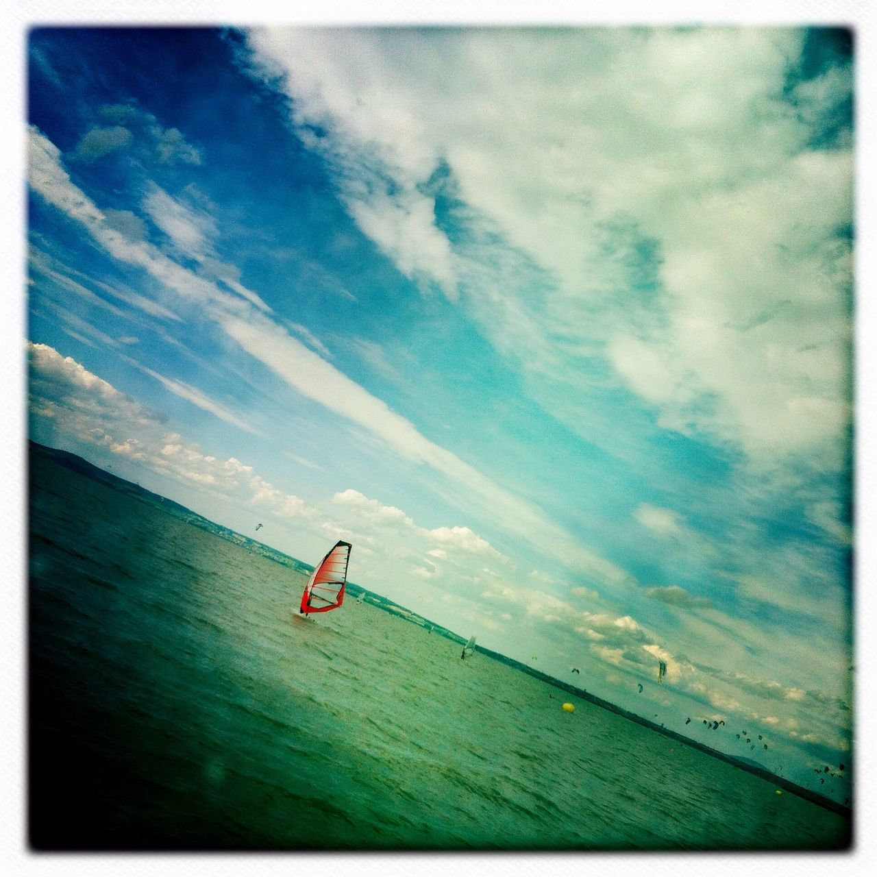 View of windsurfing in the sea