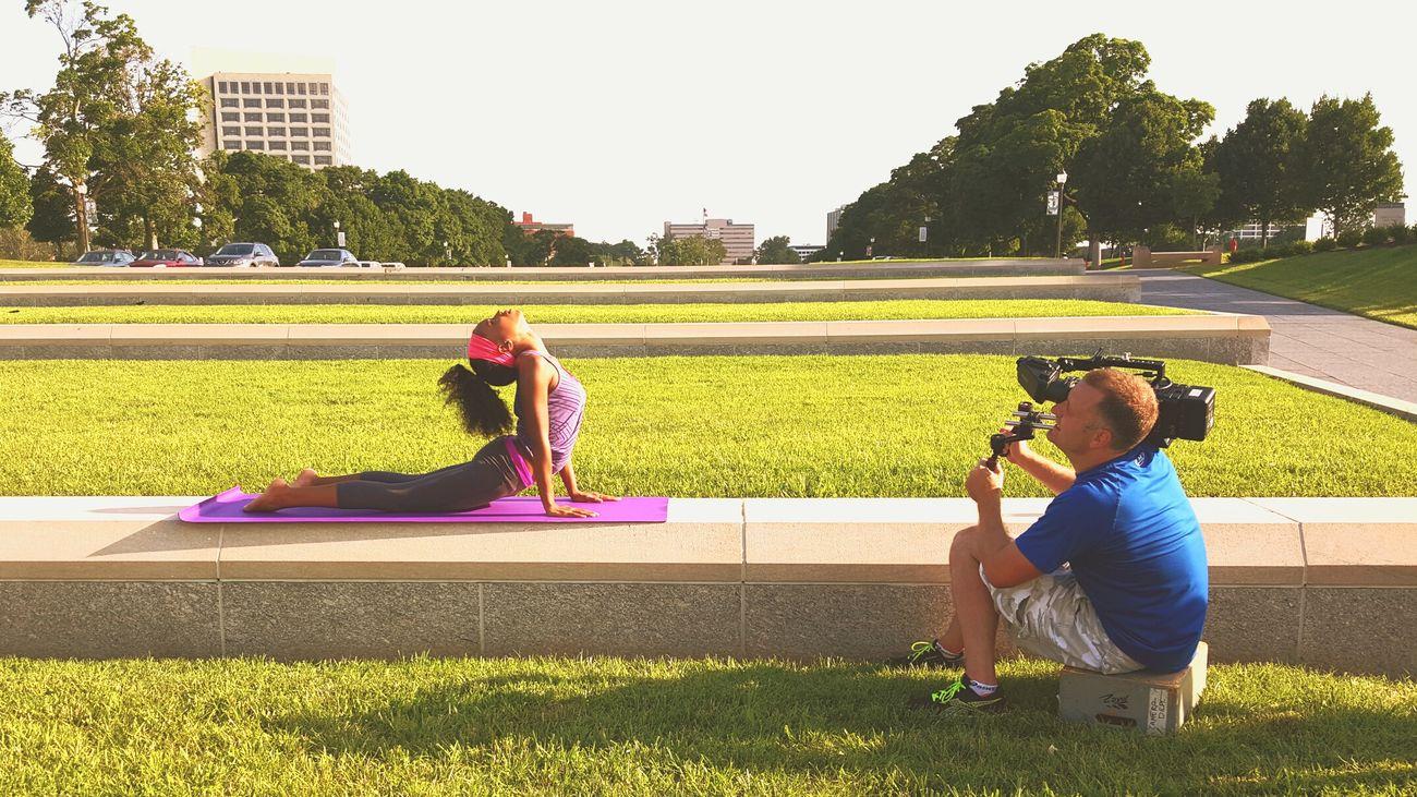 Mediation on set . Kansas City LibertyMemorial Yoga Modeling Actress Filming Theamazinghumanbody