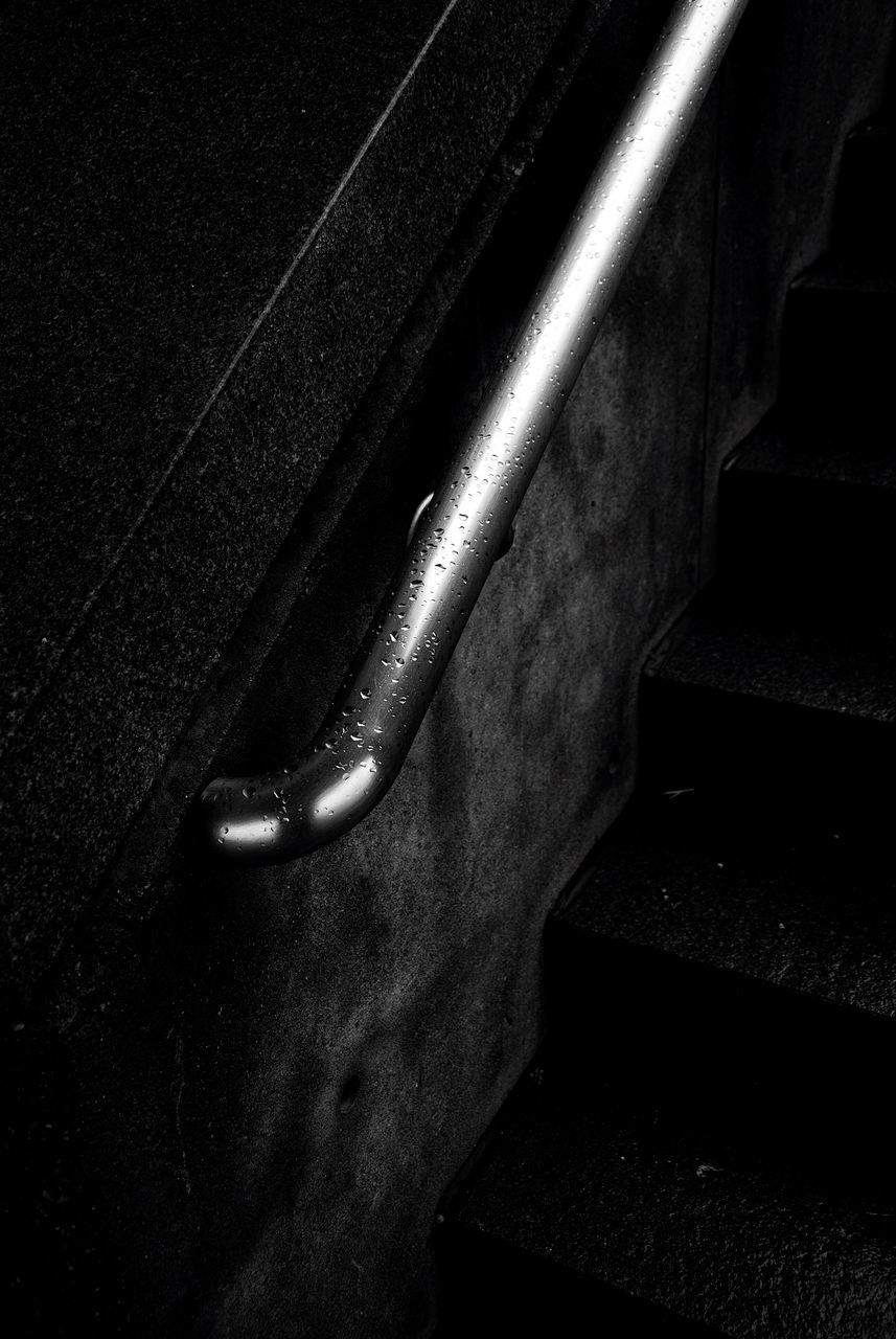 steps, no people, steps and staircases, staircase, night, indoors, close-up, hand rail