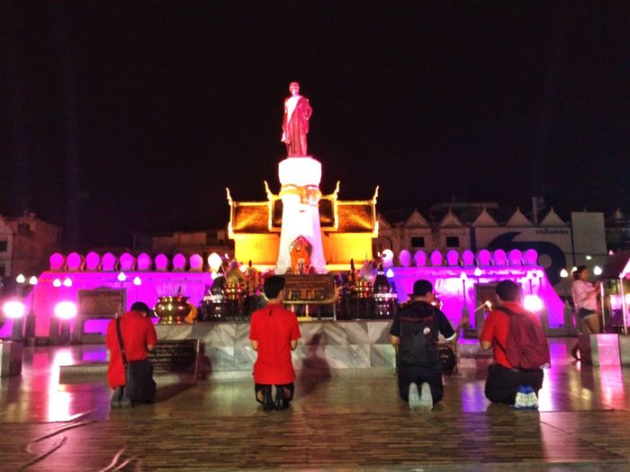 Full Length Night Tourism Human Representation Rear View Illuminated Travel Destinations Men Large Group Of People Architecture Statue Outdoors People ย่าโม โคราช กราบเท้าย่าโม แสงสวย เมืองโคราช