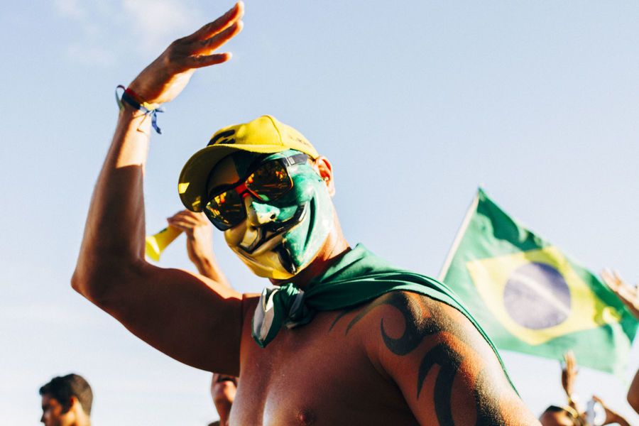 Anonimous Brazilian Flag Cat Day Dilma Roussef Flag Low Angle View MAS Maskedportraits Multi Colored No Corruption Part Of Peacefull Protests Presidential Impeachment Protests Protests In Brazil Ptsd Awareness Riot Sky Sunglasses Sunny Day The Photojournalist - 2016 EyeEm Awards Fuji Astia The Street Photographer - 2017 EyeEm Awards