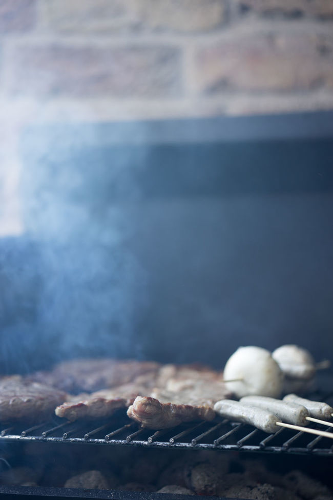 BBQ BBQ Time Day Detail Fire Focus On Foreground Food Foodphotography Heat Meat Mushrooms No People Outdoors Pork Sausage Sausages Selective Focus Smoke Yum Yum Yum Yummy The Essence Of Summer
