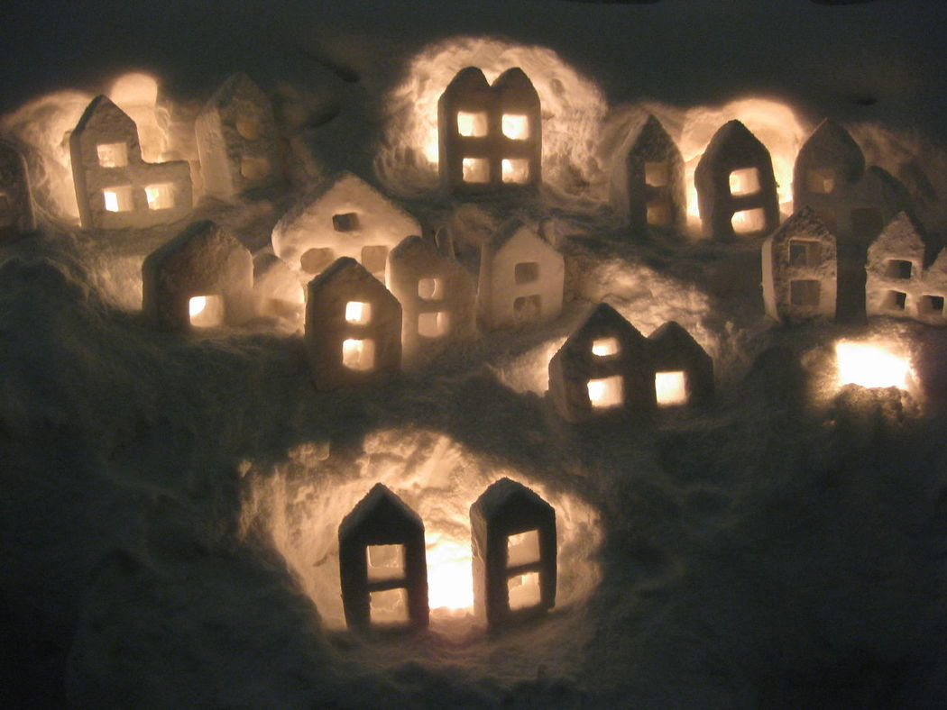 Houses Snow Snow Candles Snowtown Winter