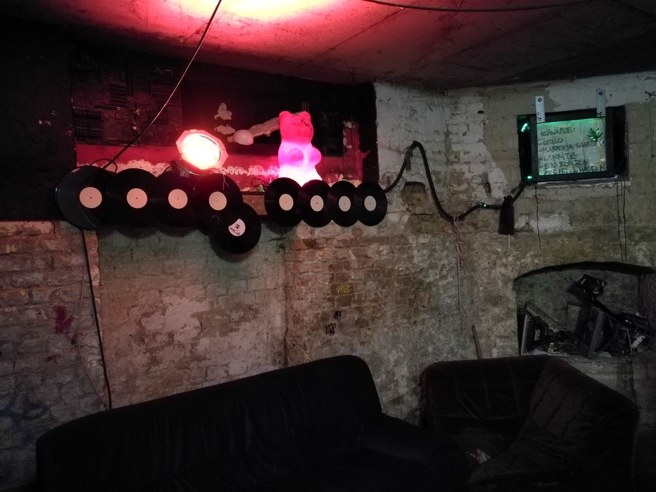 Illuminated Music Indoors  No People Night Club Vinyl Decoration Germany Dark Basement Old Buildings Chamber Underground Studio Capture Berlin Music Production Home Is Where The Art Is Lifestyle
