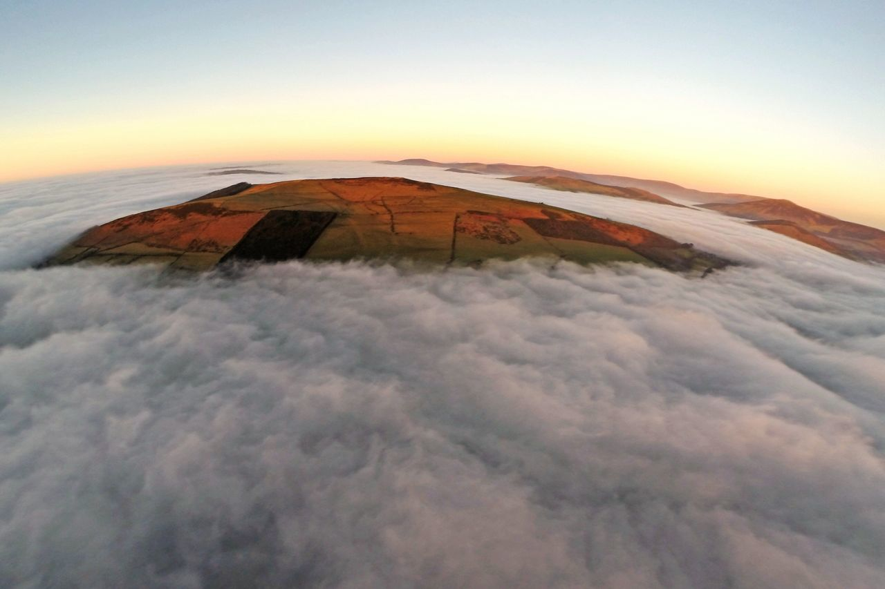 White Blanket Islands Sunset And Clouds  Aerial Photography Baltinglass Hill protruding through the Fog like an island. Weekend Snaps