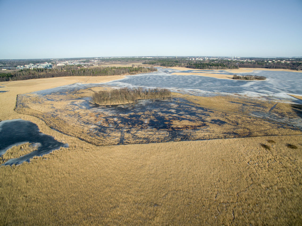 Aerial View Beauty In Nature Clear Sky Day Drone  Finland Flying High Helsinki Lake Lammassaari Landscape Mud Nature No People Outdoors Scenics Sea Seaside Sky Top View Tranquil Scene Travel Water