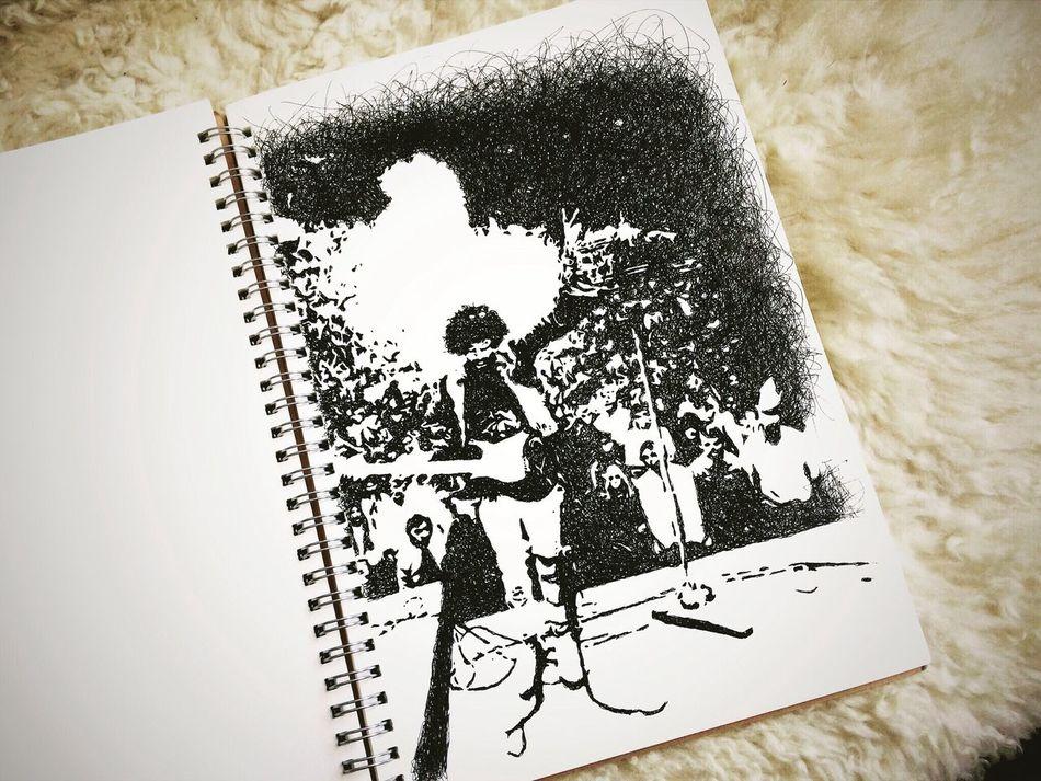 ボールペン直描き。 Jimi Jimi Hendrix Paper Art Drawing ArtWork Illustration Sketch デッサン ボールペン Musician Pen Music ジミヘン 絵