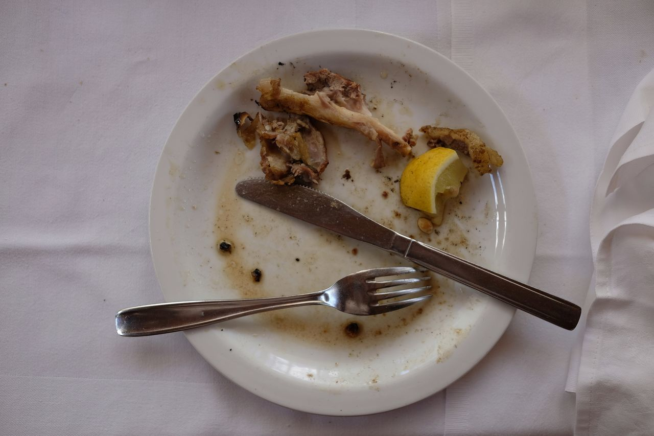 After Lunch Bones Close-up Day Finished Food Food And Drink Fork Freshness High Angle View Housework Indoors  Leftover Lemon No People Plate Ready-to-eat Sauce Wine