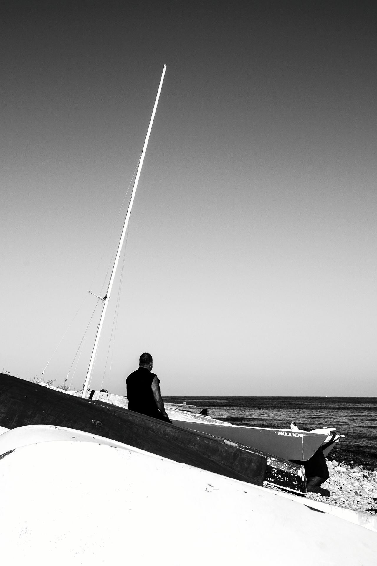 One Person Outdoors Silhouette One Man Only Real People Photography Themes Vapor Trail Sky Water Horizon Over Sea Tranquility Blackandwhite Photography El Campello Travel Destinations Monochrome Photography Horizon Over Water Nautical Sign Transportation Industrial Ship Ship At Sea Ships At Sea Nautical Fishermenboat FisherMens SailorMars