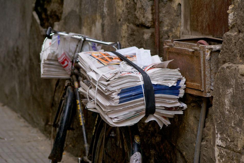 Beautiful stock photos of newspaper, Bicycle, Bike, Circulation, City