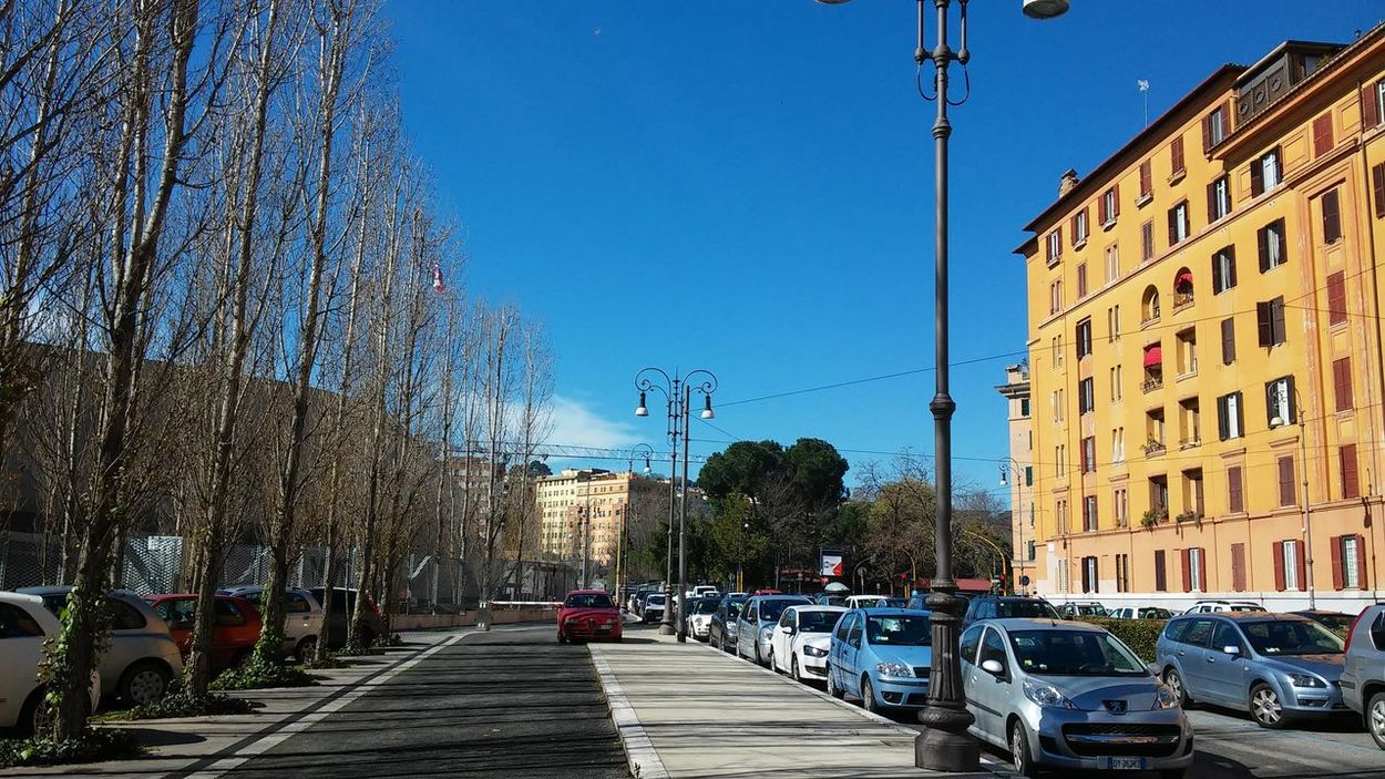11 marzo 2016 Architecture Blue Building Exterior Built Structure Car City City Life City Street Clear Sky Diminishing Perspective Flaminio Incidental People Land Vehicle Mode Of Transport Residential Structure Road Showcase March Showcase March : Street Sunlight The Way Forward Transportation Tree