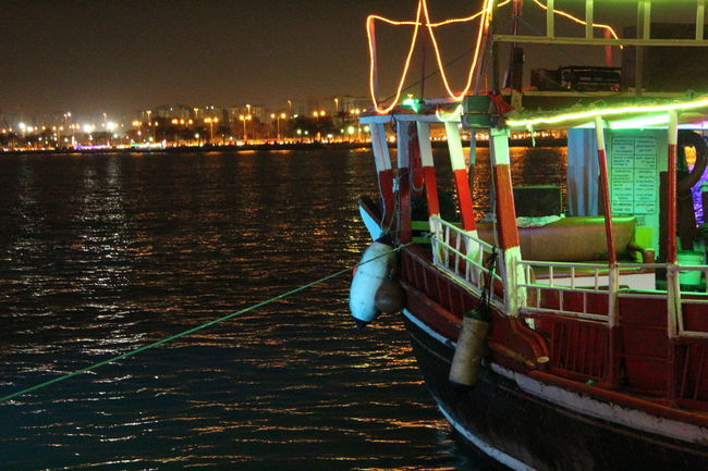 Boats Dhow Boat Ride Dhow Festival Neon Color Neonlights Night Lights Seascape Water Reflections Showcase March Learn & Shoot: Balancing Elements