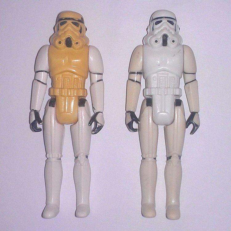 What sort of dark alchemy is this??? I employed a mild whitening technique (baking soda/manual labor) and this is the result. Boths are 1977. I wake each day, hoping they have exchanged arms & legs while I wasn't looking. Advice is encouraged. BLEARRGH Toycollectorproblems Starwars Stormtroopers Vintagetoys Vintagestarwars 70stoys 80spopculture 80stoys Kenner Starwarsfigures Actionfigures Vintagetoys Vintageactionfigures Collectibles Toycollector Toycommunity Toycrewbuddies MayTheForceBeWithyou Toys4life Toyrestoration