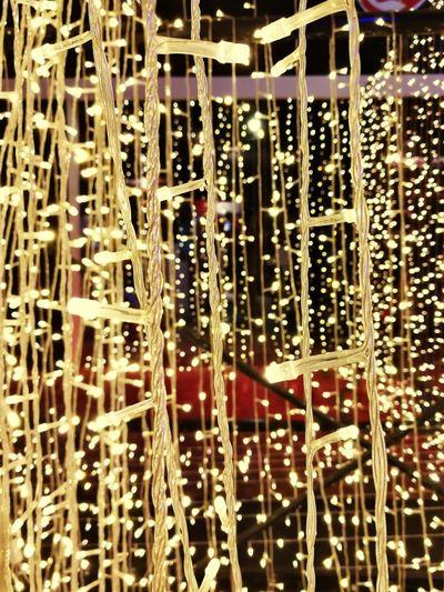 Curtain light Christmas Decoration Christmas Lights Christmas Ornament Christmas Is Coming Curtain Light Christmas Golden Lights Full Frame Backgrounds Indoors  No People Night Close-up Illuminated