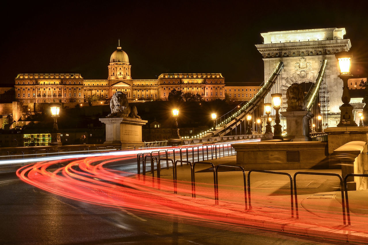 Bridge Buda Castle Budapest Castle City Famous Place Long Exposure