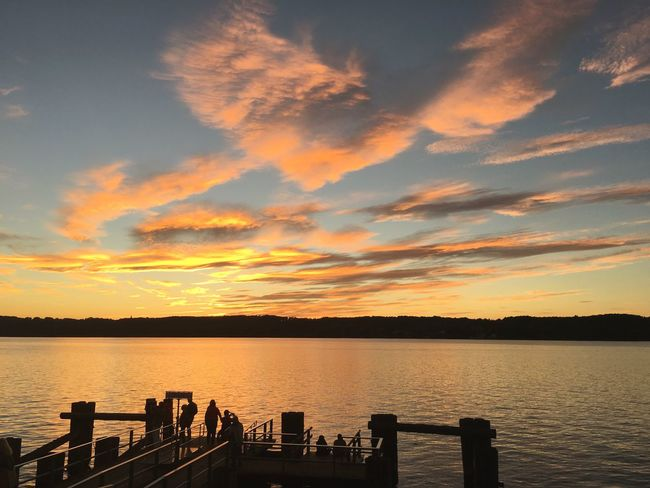 Sunset Water Cloud Scenics Tranquil Scene Lake Tranquility Sky Beauty In Nature Cloud - Sky Railing Orange Color Nature Calm Sea Dramatic Sky Atmospheric Mood Outdoors Majestic Sun