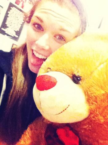 In bed snugglin w my giant vday bear my handsome man got me Giant Teddybear Vday