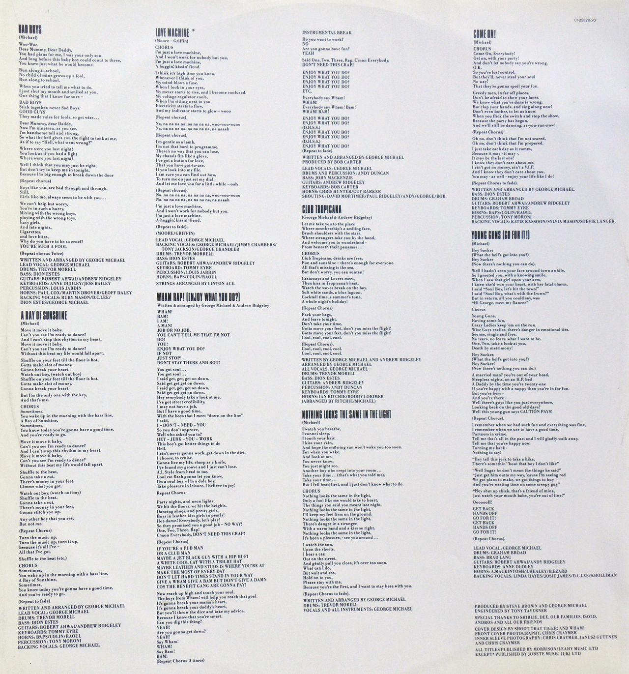 Wham! LP 'Fantastic', gramophone record inner sleeve B, George Michael & Andrew Ridgeley 1983. 1983. Album Andrew Ridgeley Charts Culture Duo Fantastic George Michael History In Memoriam LP Music Musician Popular Singer  Songwriter WHAM!