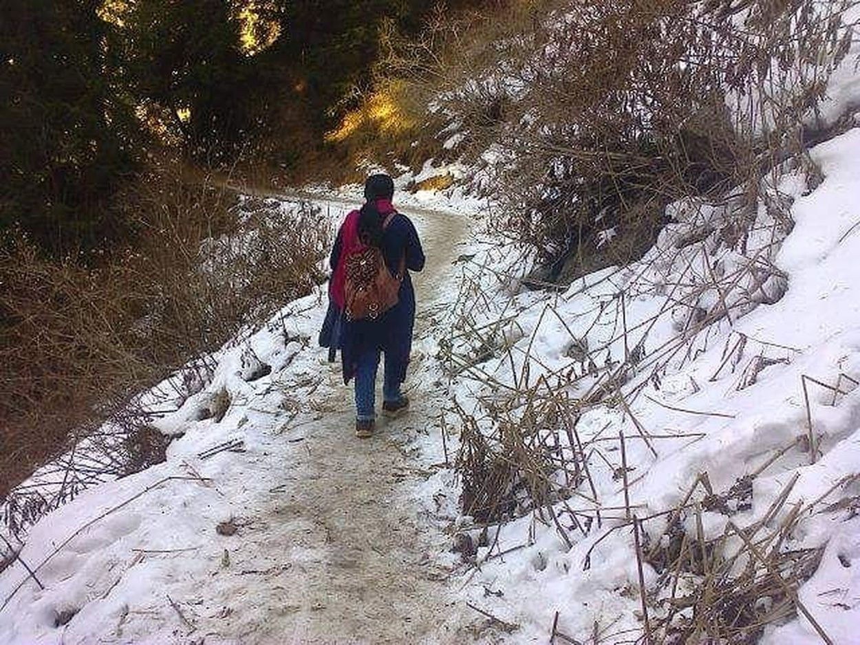 Long Goodbye Winter Snow One Person Full Length Outdoors Nature Beauty In Nature Mountain Clouds And Sky Nature Clouds Greenery Pakistan One Woman Only Let's Go. Together.