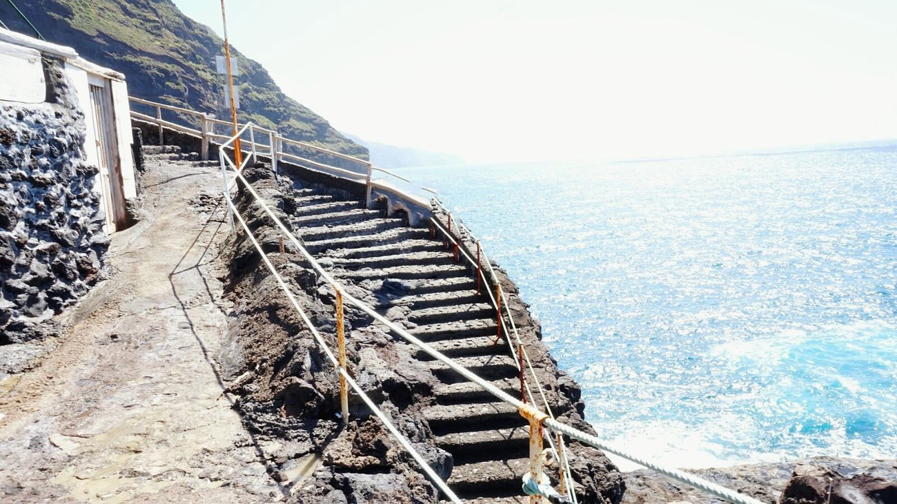 Sea Water Day Sky Nature Outdoors Beach No People Tranquil Scene Horizon Over Water Architecture Stairways Stone Art Stairs Atlantic Mountain Range Water_collection Water Reflection Beautiful Scenery Ozean Steps Steps And Staircases Architecture La Palma, Canarias EyeEm Best Shots - Nature