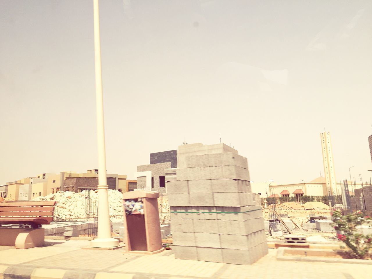 Blocks Architecture Built Structure Building Exterior No People City Outdoors Day Clear Sky Cityscape Sky Work In Progress 40 Degrees Celcius Empty Streets No Pedestrians Speeding Yellow The Street Photographer - 2017 EyeEm Awards