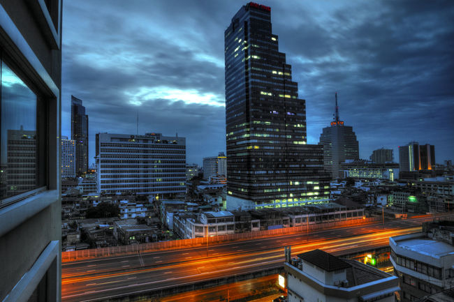 Bangkok traffic lighttrails City Skyscraper Architecture Urban Skyline Building Exterior Cityscape Sky Traffic Tower Night Looking Out Of The Window Bangkok View Bangkok Skyline Light Trail Lights In The City Lights At Night Colorful Tones Of Blue Tones And Contrast Contrast Long Exposure Long Exposure Night Photography Exposure