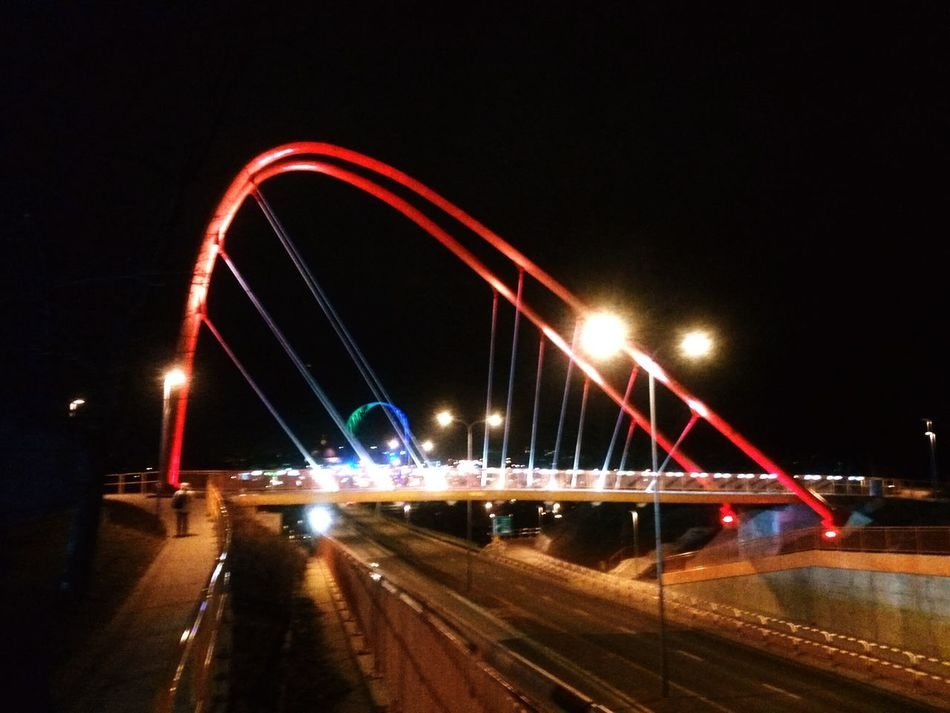 Night Light Trail Bridge - Man Made Structure Illuminated Speed Road Red Modern Bydgoszcz