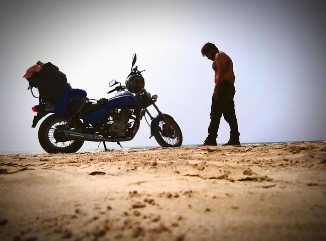 Sand, ocean and sky . Self Portrait Around The World EyeEm Best ShotsThe traveller.... The biker.....life is a journey. 10th day of journey. 4500kms... Exploring india. 9states...and counting. Individuality Dedication In Search Of Incredible Biketour Bikeporn Biketrip Biker Life Showcase: February The Tourist The Traveler - 2015 EyeEm Awards Motorcycle Photography Motorcycle Diaries WickedlyLovely The KIOMI Collection Alternative Fitness The Great Outdoors With Adobe On The Way Adventure Club People And Places