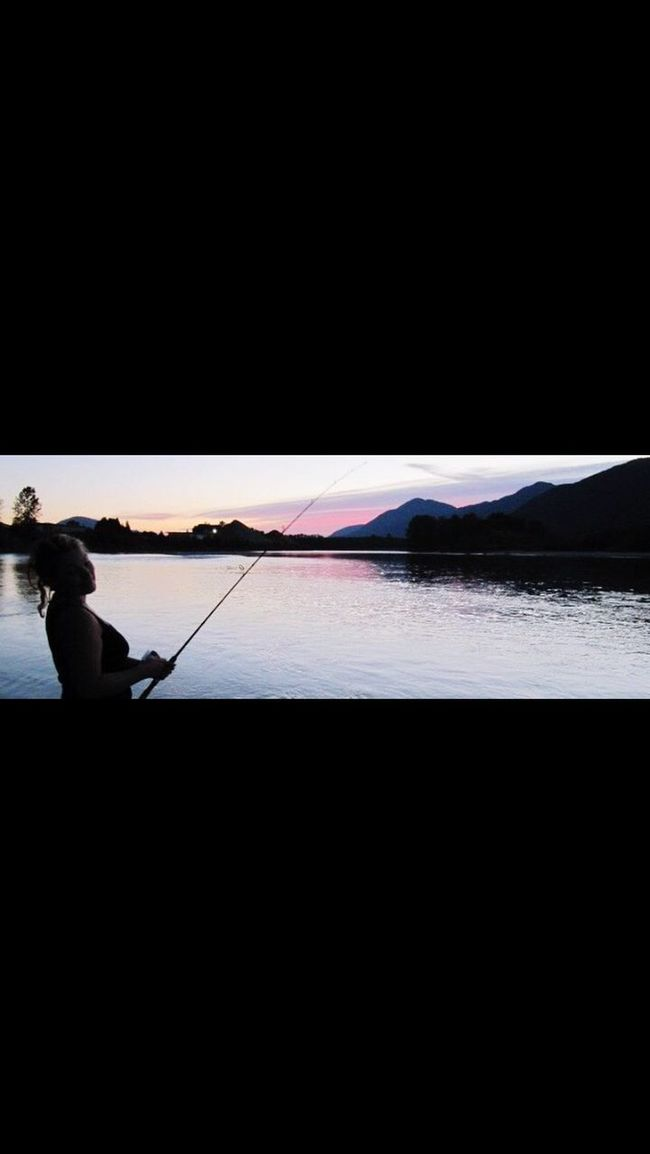 Sunset Fishing Dusk River Riverside River View Panorama Lovely Weather