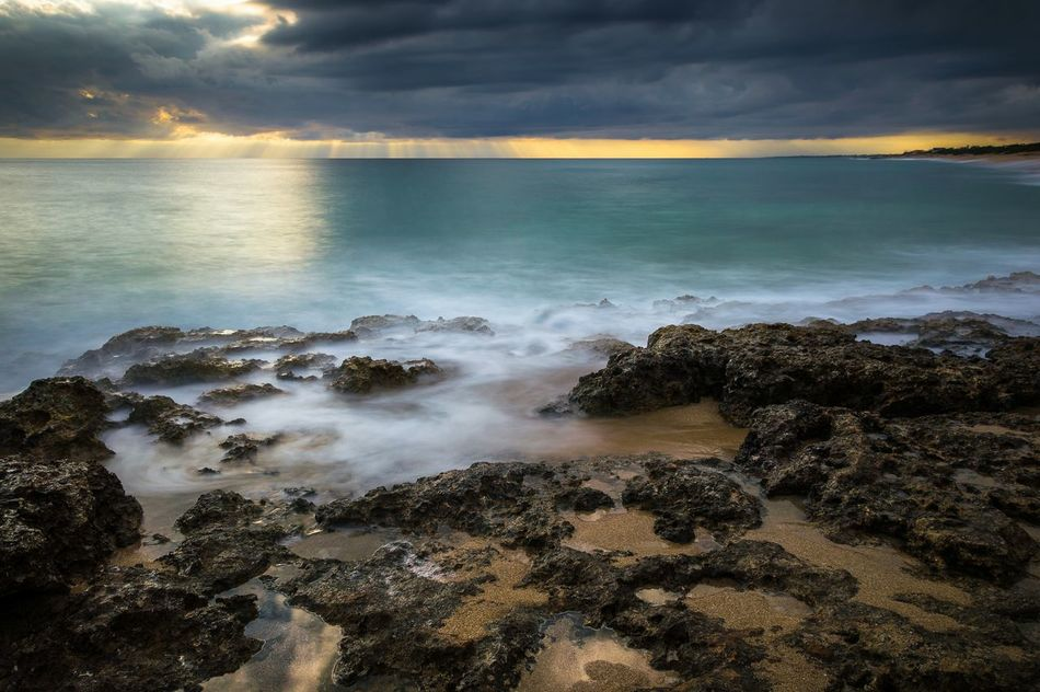 Horizon Over Water Sea Beach Cloud - Sky Sunset Dramatic Sky Water Wave Scenics Nature Landscape Reflection Long Exposure Outdoors Travel Destinations No People Water's Edge Tranquility Rocks And Water Sunlight Mediterranean Sea Salento Travel Photography Puglia Lecce