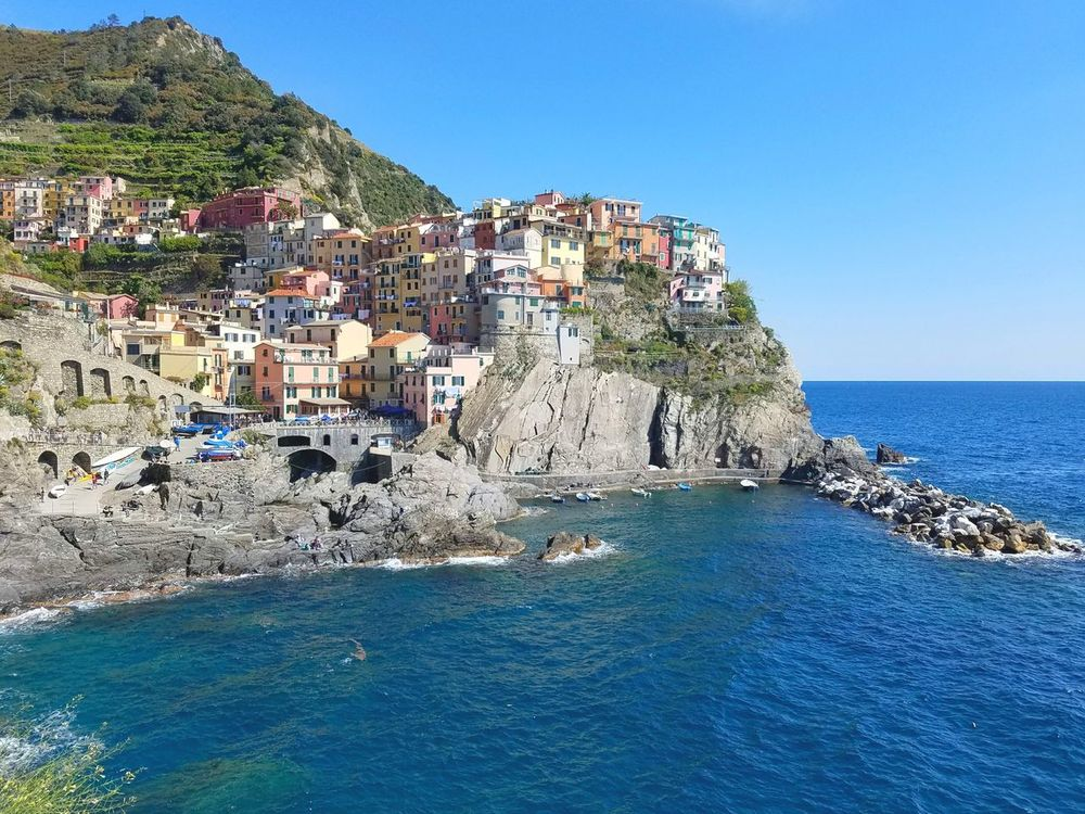 Manarola Seaside Sea Water Blue Vacations Horizon Over Water Beauty In Nature Sky Nature Clear Sky Outdoors Travel Destinations Beach Neighborhood Map Wanderlust at Manarola, Cinque Terre, Italy EyeEmNewHere