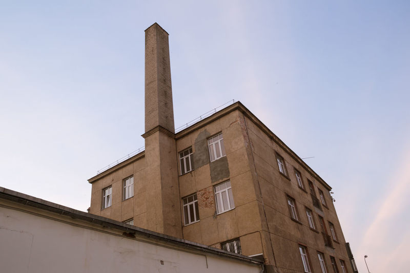 Architecture Block Box Building Building Exterior Built Structure Chimney City Concrete Day Exterior Imposing Low Angle View Modern No People Outdoors Sky Smokestack Tall - High Towering View From Below Windows