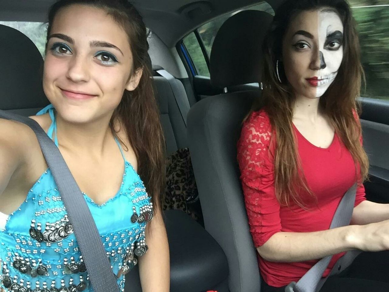 Happy Halloween 2015 Sisters Belly Dancer Skeleton Makeup Were Cute