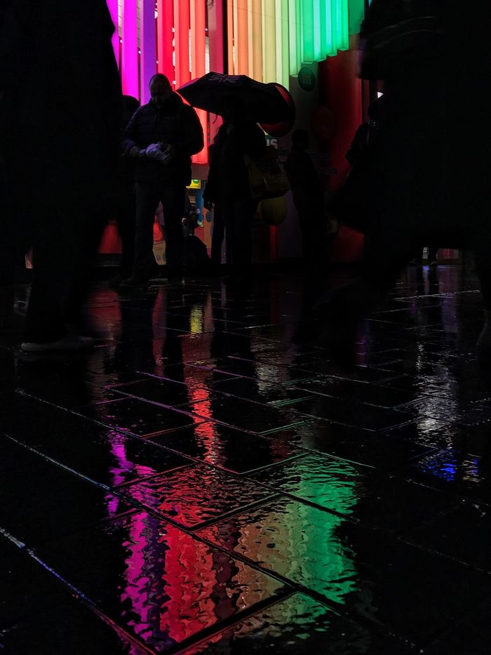 Reflection Water Night Illuminated People London Light Colour Color Umbrella Silhouette IPhoneography IPhone7Plus M And M Store  Puddle Puddleography Wet Rain Raining Break The Mold
