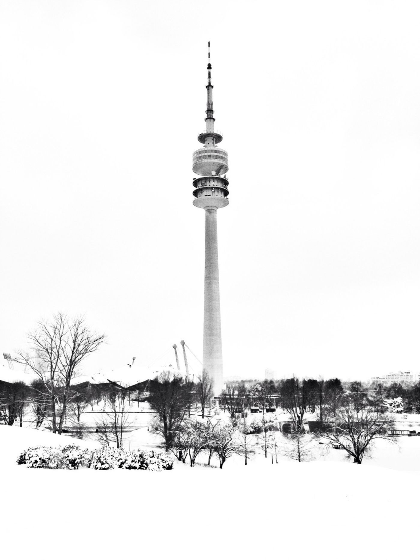 Olympiatrum stands alone in the white #olympiatrum #tower #olympics #park #winter #snow #munich #münchen #germany