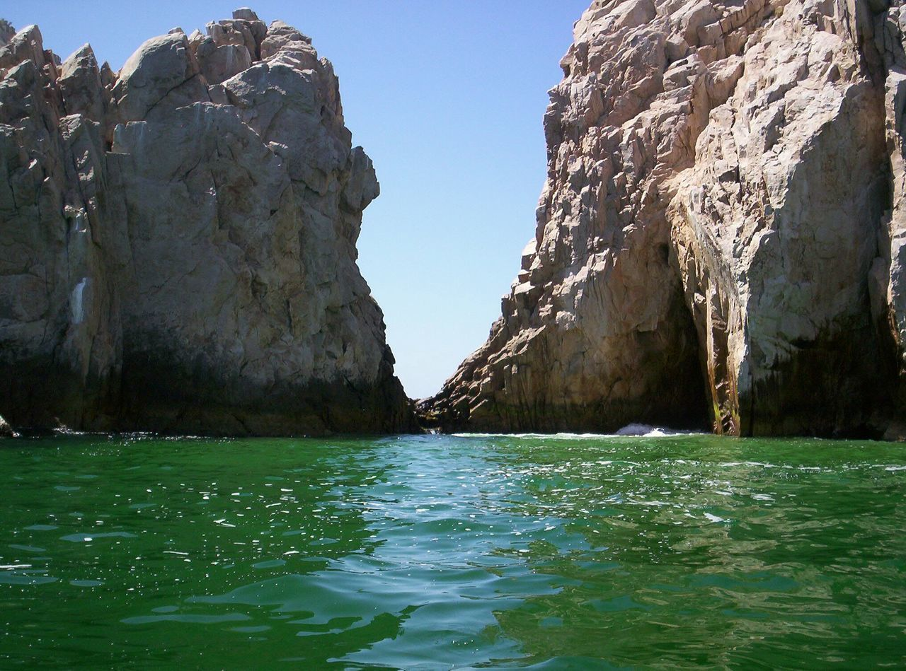 Water Rock - Object Travel Destinations Scenics Outdoors Nature Beauty In Nature Day Sky No People Rocks In Water Rocks And Water Rock Rock Formation Rock Formation Nature Natural Creation Mexico Cabo San Lucas Cabo Green Water Green Water Blue Sky Green Water And Rocks
