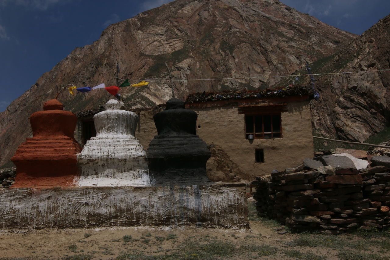 A Village In Leh Chorten Day Landscape Multi Colored Nature Peace Peaceful And Quiet Scenics Sky Travel Destinations Village
