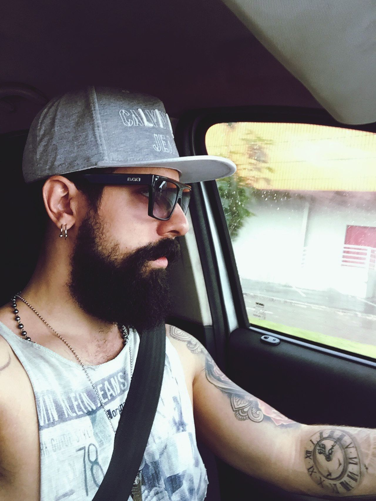 Let's drive 😎 Selfie ✌ Tattoo Hello World Eye4photography  Selfie ♥ Self Portrait Selfie EyeEm Gallery Self Day Eyemphotography Lifestyles Relaxing Self Potrait Selfportrait Tattoos Beard Adult