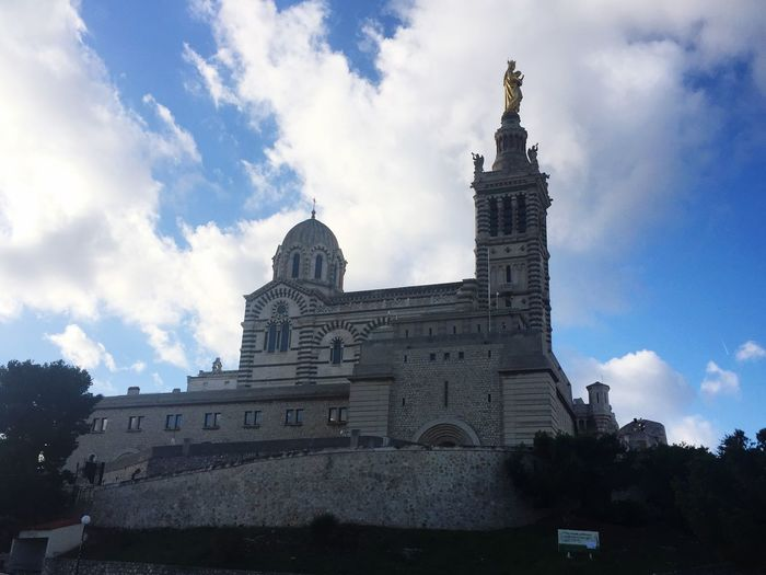 Marseille Architecture Marseille Basilique Building Exterior Built Structure Sky Cloud - Sky Day Outdoors Place Of Worship No People City Low Angle View Eglise First Eyeem Photo