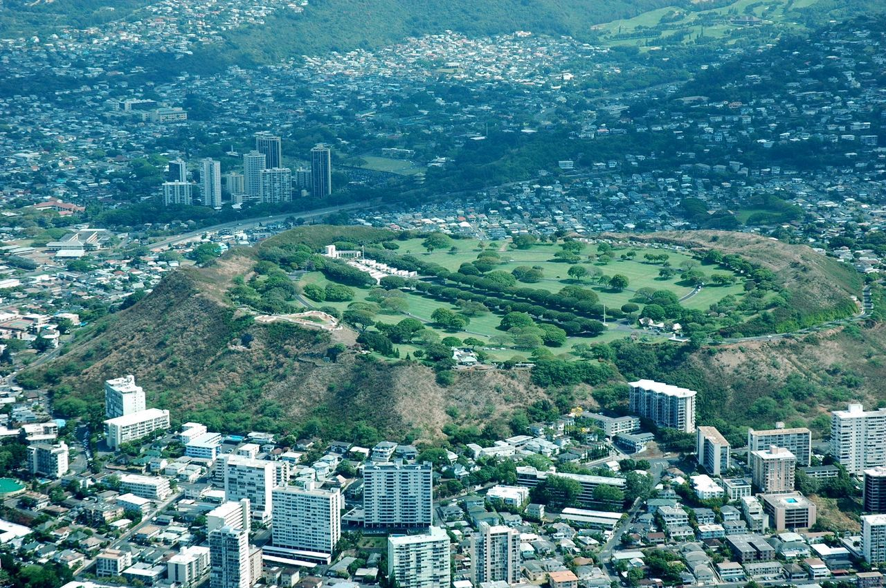 A Bird's Eye View of Punchbowl Crater National Memorial Cemetery Cemetery Honolulu  Oahu Built Structure Cityscape Building Exterior High Angle View Development Growth Outdoors Aerial View Nature Preserve Scenics Travel Destinations Tourist Travel Tourism Vacations Architecture Crowded Tall - High Miles Away Neighborhood Map The Week On EyeEm